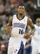 Oct 17, 2013; Sacramento, CA, USA; Sacramento Kings shooting guard Ben McLemore (16) runs up the court during the second quarter of the game against the Phoenix Suns at Sleep Train Arena. Mandatory Credit: Ed Szczepanski-USA TODAY Sports