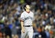 Oct 17, 2013; Detroit, MI, USA; Boston Red Sox relief pitcher Koji Uehara (19) reacts after defeating the Detroit Tigers in game five of the American League Championship Series baseball game at Comerica Park. Boston won 4-3. Mandatory Credit: Rick Osentoski-USA TODAY Sports