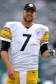 Oct 13, 2013; East Rutherford, NJ, USA; Pittsburgh Steelers quarterback Ben Roethlisberger (7) warms up before facing the New York Jets at MetLife Stadium. The Steelers won the game 19-6. Mandatory Credit: Joe Camporeale-USA TODAY Sports