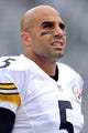 Oct 13, 2013; East Rutherford, NJ, USA; Pittsburgh Steelers quarterback Bruce Gradkowski (5) warms up before facing the New York Jets at MetLife Stadium. The Steelers won the game 19-6. Mandatory Credit: Joe Camporeale-USA TODAY Sports