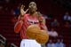 Oct 16, 2013; Houston, TX, USA; Houston Rockets center Dwight Howard (12) warms up against the Orlando Magic during the first half at Toyota Center. Mandatory Credit: Thomas Campbell-USA TODAY Sports