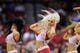 Oct 16, 2013; Houston, TX, USA; Houston Rockets cheerleaders dance against the Orlando Magic during the second half at Toyota Center. The Rockets won 108-104. Mandatory Credit: Thomas Campbell-USA TODAY Sports