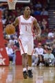 Oct 16, 2013; Houston, TX, USA; Houston Rockets point guard Isaiah Canaan (1) dribbles against the Orlando Magic during the second half at Toyota Center. The Rockets won 108-104. Mandatory Credit: Thomas Campbell-USA TODAY Sports