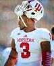 Oct 12, 2013; East Lansing, MI, USA; Indiana Hoosiers wide receiver Cody Latimer (3) warms up prior to a game between the Michigan State Spartans and the Indiana Hoosiers at Spartan Stadium. Mandatory Credit: Mike Carter-USA TODAY Sports
