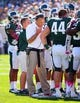 Oct 12, 2013; East Lansing, MI, USA;   Michigan State Spartans head coach Mark Dantonio talks with players on sidelines during the first half in a game at Spartan Stadium. Mandatory Credit: Mike Carter-USA TODAY Sports