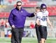 Oct 12, 2013; Madison, WI, USA; Northwestern Wildcats head coach Pat Fitzgerald talks with kicker Jeff Budzien (37) during warmups prior to the game against the Wisconsin Badgers at Camp Randall Stadium.  Wisconsin won 35-6.  Mandatory Credit: Jeff Hanisch-USA TODAY Sports