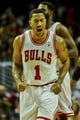 Oct 18, 2013; Chicago, IL, USA; Chicago Bulls guard Derrick Rose yells after scoring against the Indiana Pacers at the United Center. Mandatory Credit: Matt Marton-USA TODAY Sports