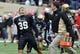 Oct 19, 2013; Nashville, TN, USA; Vanderbilt Commodores kicker Casey Spear (39) celebrates after defeating the Georgia Bulldogs at Vanderbilt Stadium. The Commodores beat the Bulldogs 31-27. Mandatory Credit: Don McPeak-USA TODAY Sports