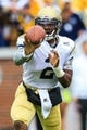 Oct 19, 2013; Atlanta, GA, USA; Georgia Tech Yellow Jackets quarterback Vad Lee (2) pitches the ball in the first half against Syracuse at Bobby Dodd Stadium. Mandatory Credit: Daniel Shirey-USA TODAY Sports