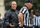 Oct 19, 2013; Nashville, TN, USA; Vanderbilt Commodores head coach James Franklin argues a call with an official in a game against the Georgia Bulldogs during the second half at Vanderbilt Stadium. The Commodores beat the Bulldogs 31-27. Mandatory Credit: Don McPeak-USA TODAY Sports