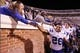 Oct 19, 2013; Charlottesville, VA, USA;  Duke Blue Devils safety Corbin McCarthy (26) celebrates with fans in the stands after their game against the Virginia Cavaliers at Scott Stadium. The Blue Devils won 35-22. Mandatory Credit: Geoff Burke-USA TODAY Sports