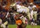 Oct 19, 2013; Clemson, SC, USA; Florida State Seminoles quarterback Jameis Winston (5) is brought down by Clemson Tigers safety Travis Blanks (11) during the first half at Clemson Memorial Stadium. Mandatory Credit: Joshua S. Kelly-USA TODAY Sports