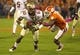 Oct 19, 2013; Clemson, SC, USA; Florida State Seminoles wide receiver Rashad Greene (80) avoids a tackle by Clemson Tigers defensive back Bashaud Breeland (17) during the first half at Clemson Memorial Stadium. Mandatory Credit: Joshua S. Kelly-USA TODAY Sports