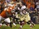 Oct 19, 2013; Clemson, SC, USA; Florida State Seminoles running back James Wilder Jr. (32) carries the ball during the first half against the Clemson Tigers at Clemson Memorial Stadium. Mandatory Credit: Joshua S. Kelly-USA TODAY Sports
