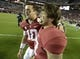 Oct 19, 2013; Tuscaloosa, AL, USA; Alabama Crimson Tide quarterback A.J. McCarron (10) and tight end Corey McCarron (47) walk off the field following their 52-0 victory over the Arkansas Razorbacks at Bryant-Denny Stadium. Mandatory Credit: John David Mercer-USA TODAY Sports