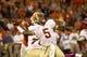 Oct 19, 2013; Clemson, SC, USA; Florida State Seminoles quarterback Jameis Winston (5) throws the ball during the second half against the Clemson Tigers at Clemson Memorial Stadium. Seminoles won 51-14. Mandatory Credit: Joshua S. Kelly-USA TODAY Sports
