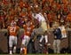 Oct 19, 2013; Clemson, SC, USA; Florida State Seminoles wide receiver Kelvin Benjamin (1) catches the ball for a touchdown during the first quarter against the Clemson Tigers at Clemson Memorial Stadium. Mandatory Credit: Joshua S. Kelly-USA TODAY Sports