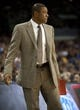 Oct 19, 2013; Las Vegas, NV, USA; Los Angeles Clippers head coach Doc Rivers looks towards the court during an NBA preseason game against the Denver Nuggets at Mandalay Bay Events Center. Mandatory Credit: Stephen R. Sylvanie-USA TODAY Sports