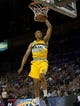 Oct 19, 2013; Las Vegas, NV, USA; Denver Nuggets forward Anthony Randolph (15) dunks the ball against the Los Angeles Clippers during an NBA preseason game at Mandalay Bay Events Center.  The Clippers won the game in overtime 118-111. Mandatory Credit: Stephen R. Sylvanie-USA TODAY Sports