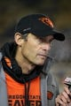 Oct 19, 2013; Berkeley, CA, USA; Oregon State Beavers head coach Mike Riley speaks to the media after the game against the California Golden Bears at Memorial Stadium. The Oregon State Beavers defeated the California Golden Bears 49-17. Mandatory Credit: Kelley L Cox-USA TODAY Sports