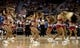 Oct 19, 2013; Las Vegas, NV, USA;  Los Angeles Clippers cheerleaders entertain the crowd during an NBA preseason game between the Clippers and the Denver Nuggets at Mandalay Bay Events Center. The Clippers won the game in overtime 118-111. Mandatory Credit: Stephen R. Sylvanie-USA TODAY Sports