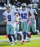 October 20, 2013; Philadelphia, PA, USA; Dallas Cowboys quarterback Tony Romo (9) runs onto the field prior to the game against the Philadelphia Eagles at Lincoln Financial Field. Mandatory Credit: Jeffrey Pittenger-USA TODAY Sports