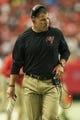 Oct 20, 2013; Atlanta, GA, USA; Tampa Bay Buccaneers head coach Greg Schiano walks the sidelines in the second half against the Atlanta Falcons at the Georgia Dome. The Falcons won 31-23. Mandatory Credit: Daniel Shirey-USA TODAY Sports