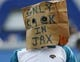 Oct 20, 2013; Jacksonville, FL, USA; A Jacksonville Jaguars fan wears a bag over his head after their game against the San Diego Chargers at EverBank Field. The San Diego Chargers defeated the Jacksonville Jaguars 24-6. Mandatory Credit: Phil Sears-USA TODAY Sports