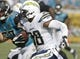 Oct 20, 2013; Jacksonville, FL, USA; San Diego Chargers cornerback Marcus Gilchrist (38) returns an interception in the fourth quarter of their game against the Jacksonville Jaguars at EverBank Field. The San Diego Chargers defeated the Jacksonville Jaguars 24-6. Mandatory Credit: Phil Sears-USA TODAY Sports