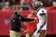 Oct 20, 2013; Atlanta, GA, USA; Tampa Bay Buccaneers head coach Greg Schiano talks to wide receiver Mike Williams (19) in the game against the Atlanta Falcons during the first half at the Georgia Dome. The Falcons defeated the Buccaneers 31-23.  Mandatory Credit: Dale Zanine-USA TODAY Sports