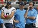 Oct 20, 2013; Jacksonville, FL, USA; San Diego Chargers quarterback Charlie Whitehurst (6) and quarterbacks coach Frank Reich, right, in the second quarter of their game against the Jacksonville Jaguars at EverBank Field. The San Diego Chargers defeated the Jacksonville Jaguars 24-6. Mandatory Credit: Phil Sears-USA TODAY Sports