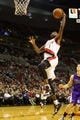 Oct 20, 2013; Portland, OR, USA; Portland Trail Blazers small forward Dorell Wright (1) drives to the basket for a dunk against Sacramento Kings in the second half at Moda Center. Mandatory Credit: Jaime Valdez-USA TODAY Sports