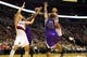 Oct 20, 2013; Portland, OR, USA; Portland Trail Blazers point guard Damian Lillard (0) shoots over Sacramento Kings power forward Chuck Hayes (42) in the second half at Moda Center. Mandatory Credit: Jaime Valdez-USA TODAY Sports
