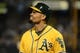 October 5, 2013; Oakland, CA, USA; Oakland Athletics center fielder Coco Crisp (4) reacts after striking out during the fourth inning in game two of the American League divisional series playoff baseball game against the Detroit Tigers at O.co Coliseum. The Oakland Athletics defeated the Detroit Tigers 1-0. Mandatory Credit: Kyle Terada-USA TODAY Sports