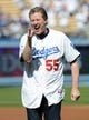 October 16, 2013; Los Angeles, CA, USA; Los Angeles Dodgers former pitcher Orel Hershiser throws the ceremonial first pitch before the Dodgers play against the St. Louis Cardinals in game five of the National League Championship Series baseball game at Dodger Stadium. Mandatory Credit: Jayne Kamin-Oncea-USA TODAY Sports