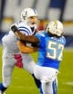 Oct 14, 2013; San Diego, CA, USA; Indianapolis Colts quarterback Andrew Luck (12) fights off a tackle attempt by San Diego Chargers linebacker Reggie Walker (52) during the first half at Qualcomm Stadium. Mandatory Credit: Christopher Hanewinckel-USA TODAY Sports