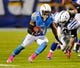 Oct 14, 2013; San Diego, CA, USA; San Diego Chargers running back Ryan Mathews (24) runs for a short gain during the second half against the Indianapolis Colts at Qualcomm Stadium. The Chargers won 19-9. Mandatory Credit: Christopher Hanewinckel-USA TODAY Sports