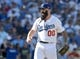 October 16, 2013; Los Angeles, CA, USA; Los Angeles Dodgers relief pitcher Brian Wilson (00) during  game five of the National League Championship Series baseball game against the St. Louis Cardinals at Dodger Stadium. Mandatory Credit: Jayne Kamin-Oncea-USA TODAY Sports