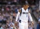 Oct 14, 2013; Dallas, TX, USA; Dallas Mavericks point guard Monta Ellis (11) comes off the court during the game against the Orlando Magic at the American Airlines Center. The Magic defeated the Mavericks 102-94. Mandatory Credit: Jerome Miron-USA TODAY Sports