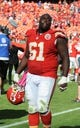 Oct 13, 2013; Kansas City, MO, USA; Kansas City Chiefs center Rodney Hudson (61) leaves the field after the game against the Oakland Raiders at Arrowhead Stadium. Kansas City won the game 24-7. Mandatory Credit: John Rieger-USA TODAY Sports