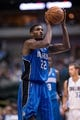 Oct 14, 2013; Dallas, TX, USA; Orlando Magic power forward Solomon Jones (22) shoots a free throw during the game against the Dallas Mavericks at the American Airlines Center. The Magic defeated the Mavericks 102-94. Mandatory Credit: Jerome Miron-USA TODAY Sports