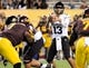 Oct 12, 2013; Tempe, AZ, USA; Colorado Buffaloes quarterback Sefo Liufau (13) looks for an open receiver to pass to during the third quarter against the Arizona State Sun Devils at Sun Devil Stadium. The Sun Devils beat the Buffaloes 54-13. Mandatory Credit: Casey Sapio-USA TODAY Sports