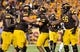 Oct 12, 2013; Tempe, AZ, USA; Arizona State Sun Devils offensive lineman Nick Kelly (50) running back R.J. Robinson (35) and offensive lineman Devin Goodman (56) celebrate after a touchdown during the first quarter against the Colorado Buffaloes at Sun Devil Stadium. The Sun Devils beat the Buffaloes 54-13. Mandatory Credit: Casey Sapio-USA TODAY Sports