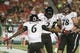 Oct 5, 2013; Tampa, FL, USA; Cincinnati Bearcats wide receiver Mekale McKay (2) is congratulated by wide receiver Anthony McClung (6) after he scored a touchdown against the South Florida Bulls  during the second half at Raymond James Stadium. South Florida Bulls defeated the Cincinnati Bearcats 26-20. Mandatory Credit: Kim Klement-USA TODAY Sports