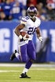 Oct 21, 2013; East Rutherford, NJ, USA; Minnesota Vikings running back Adrian Peterson (28) runs the ball against the New York Giants during the first half at MetLife Stadium. The Giants won the game 23-7. Mandatory Credit: Joe Camporeale-USA TODAY Sports