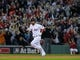 Oct 19, 2013; Boston, MA, USA; Boston Red Sox right fielder Shane Victorino (18) rounds the bases after hitting a grand slam during the seventh inning in game six of the American League Championship Series baseball game against the Detroit Tigers at Fenway Park. Mandatory Credit: Bob DeChiara-USA TODAY Sports