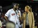 Oct 19, 2013; Boston, MA, USA; Boston Red Sox designated hitter David Ortiz (34) talks with FOX reporter Erin Andrews after defeating the Detroit Tigers in game six of the American League Championship Series baseball game at Fenway Park. Mandatory Credit: Bob DeChiara-USA TODAY Sports