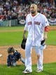 Oct 19, 2013; Boston, MA, USA; Boston Red Sox right fielder Shane Victorino (18) after defeating the Detroit Tigers to win the pennant in game six of the American League Championship Series baseball game at Fenway Park. Mandatory Credit: Bob DeChiara-USA TODAY Sports