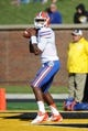 Oct 19, 2013; Columbia, MO, USA; Florida Gators quarterback Tyler Murphy (3) warms up before the game against the Missouri Tigers at Faurot Field. Missouri won 36-17. Mandatory Credit: Denny Medley-USA TODAY Sports