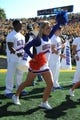 Oct 19, 2013; Columbia, MO, USA; Florida Gators cheerleaders perform for the crowd during the second half of the game against the Missouri Tigers at Faurot Field. Missouri won 36-17. Mandatory Credit: Denny Medley-USA TODAY Sports